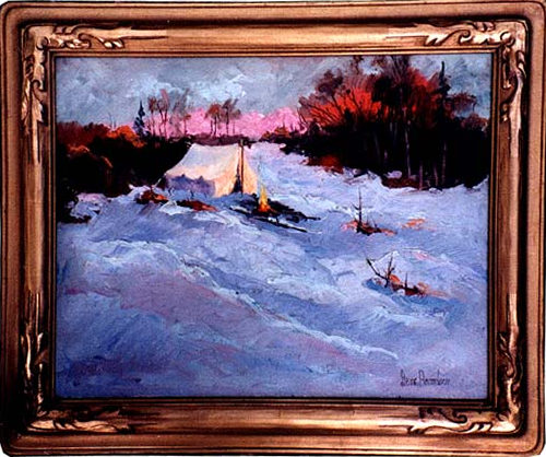 Cold Morning an oil painting  of  sleeping in a tent in winter snow