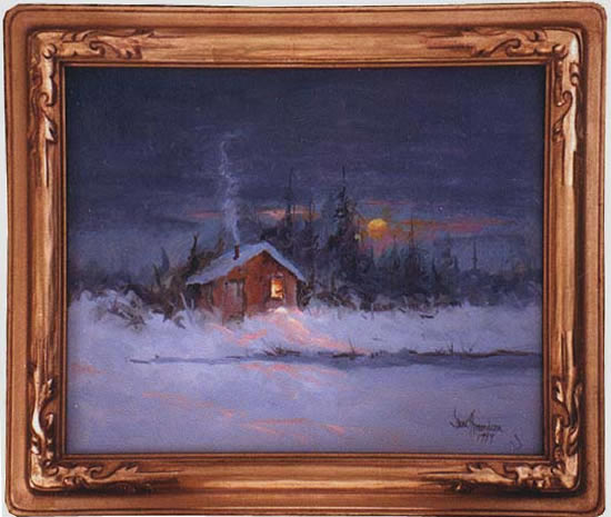 Cold Out - painting of cabin at dusk in winter