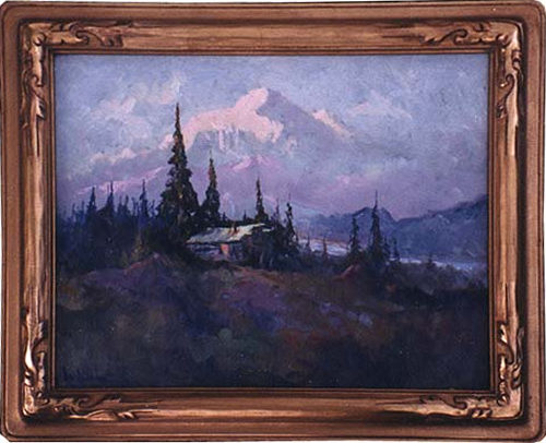 An original oil painting of a mountain with a cabin in front.