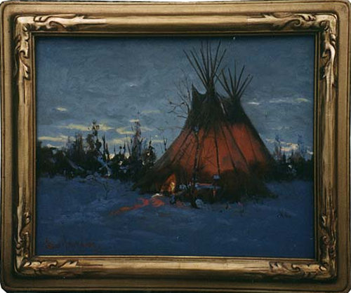 A picture of a tepee glowing from within on a cold winter night.