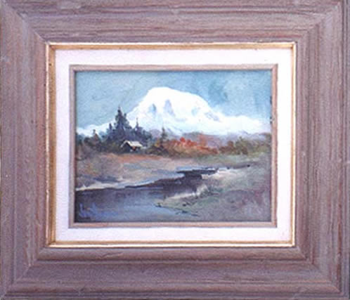 oil painting of a cabin in foothills of Mt Rainier
