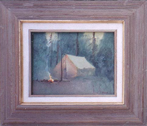 An Original Oil Painting of a Tent in the Woods by Gene Amondson & Tent - an oil painting of a tent in the woods by Gene Amondson
