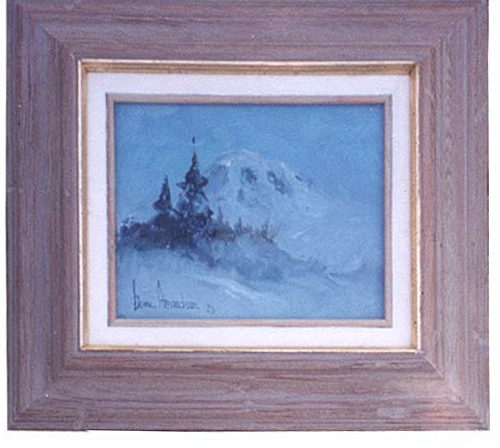 oil painting of a an evening in winter on Mount Rainier