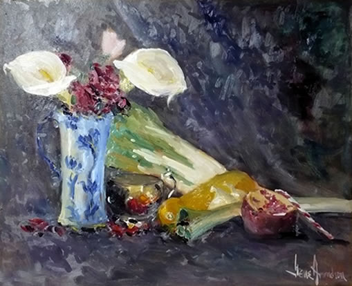 Christmas Dinner An Oil Painting Of A Calla Lily