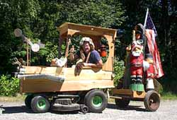 Gene towing his Vashons in the Vashon Strawberry Festival Parade, July 2002