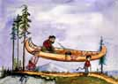 Whimsical woodsmen with canoe watercolor